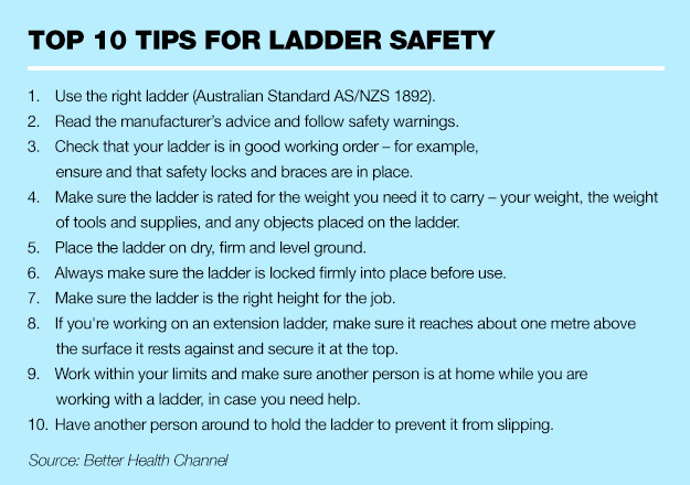 Stop and think before you use a ladder peninsula health for Ladder safety tips